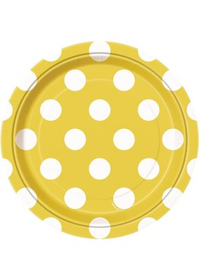 ***Yellow Dots 7in Dessert Plate