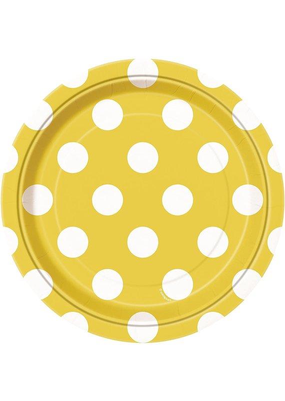 "****Yellow Polka Dot 7"" Dessert Plates 8ct"