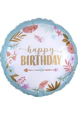 "***Boho Birthday Girl 27"" Mylar Balloon"