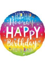 "***Hip Hip Hooray Birthday 28"" Mylar Balloon"