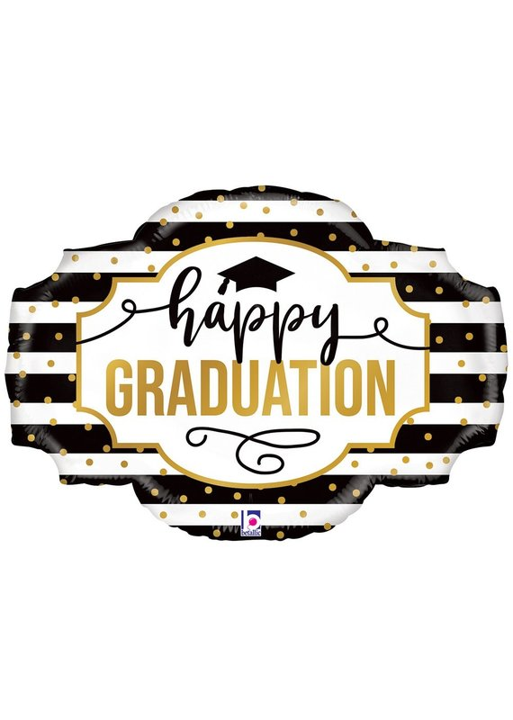 "****Black and White Striped Graduation 32"" Foil Balloon"