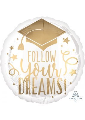 "***Follow your Dreams White Gold Graduation 18"" Mylar Balloon"