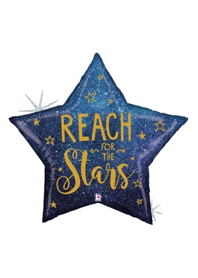 "***Reach for the Stars 36"" Mylar Balloon"
