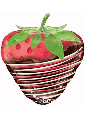"""***Chocolate Covered Dipped Strawberry 19"""" Mylar Balloon"""