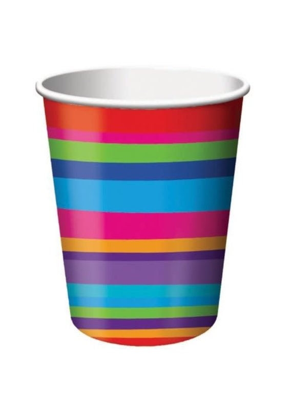 ***Birthday Stripes 9oz Cups 8ct