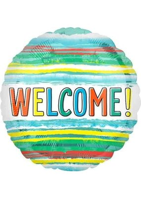 """***Welcome Watercolor Stripes 18"""" Mylar Balloon"""