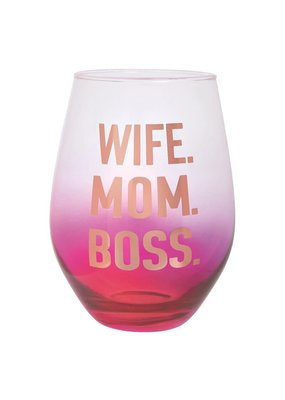 ***Wife Mom Boss Stemless Jumbo Wine Glass