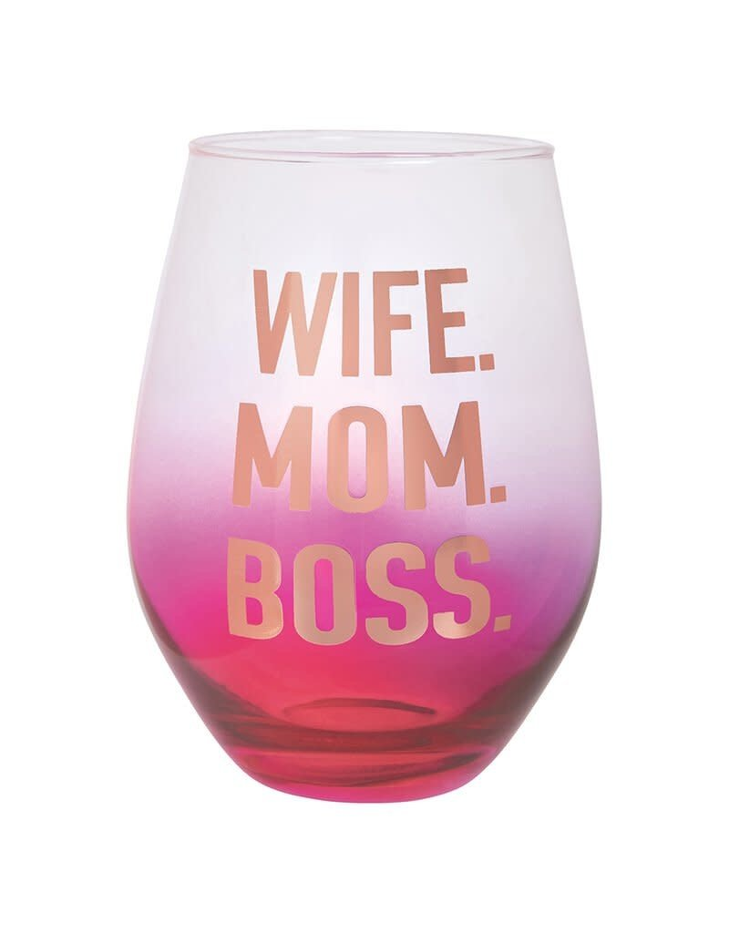 ***Wife Mom Boss Stemless Jumbo Wine Glass