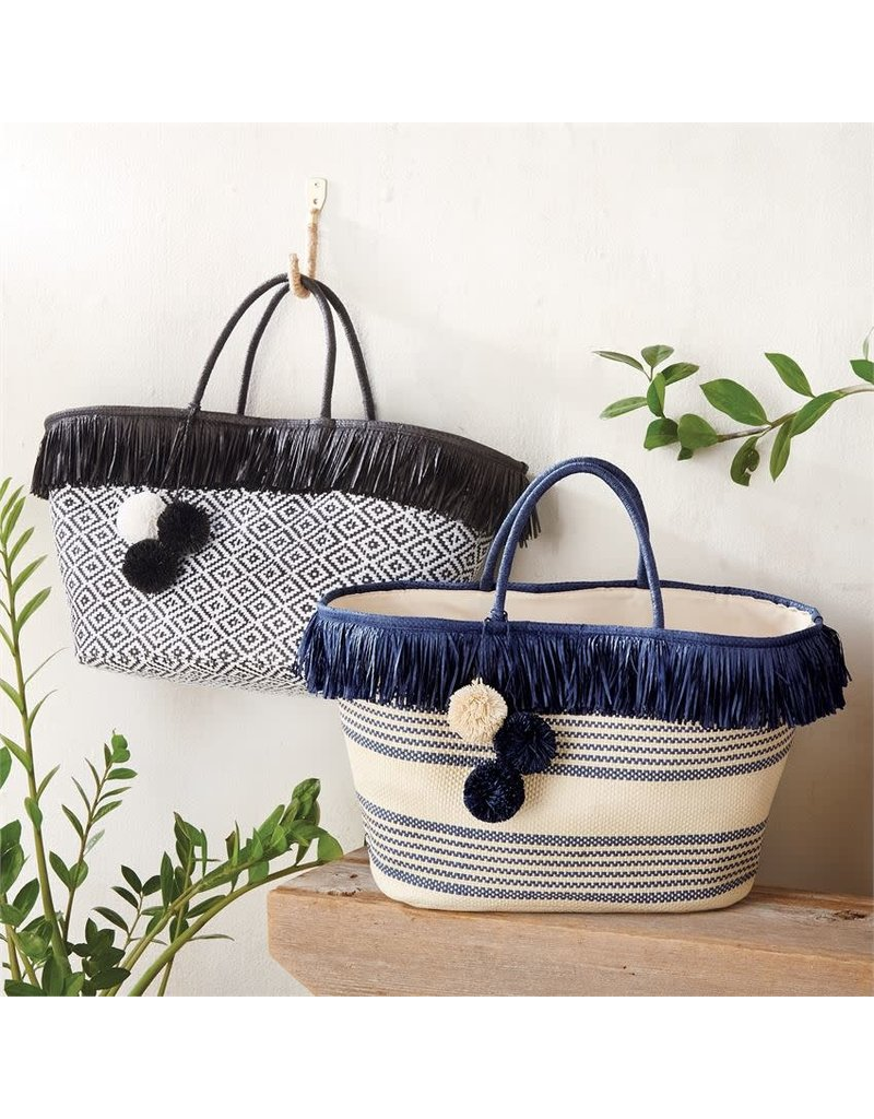 ***Fringe Straw Navy Tote Bag