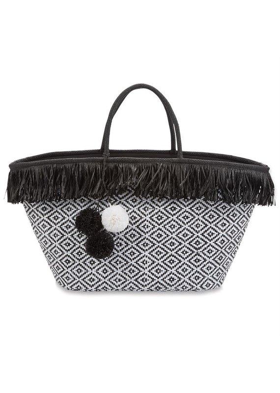 ***Fringe Straw Black Tote Bag