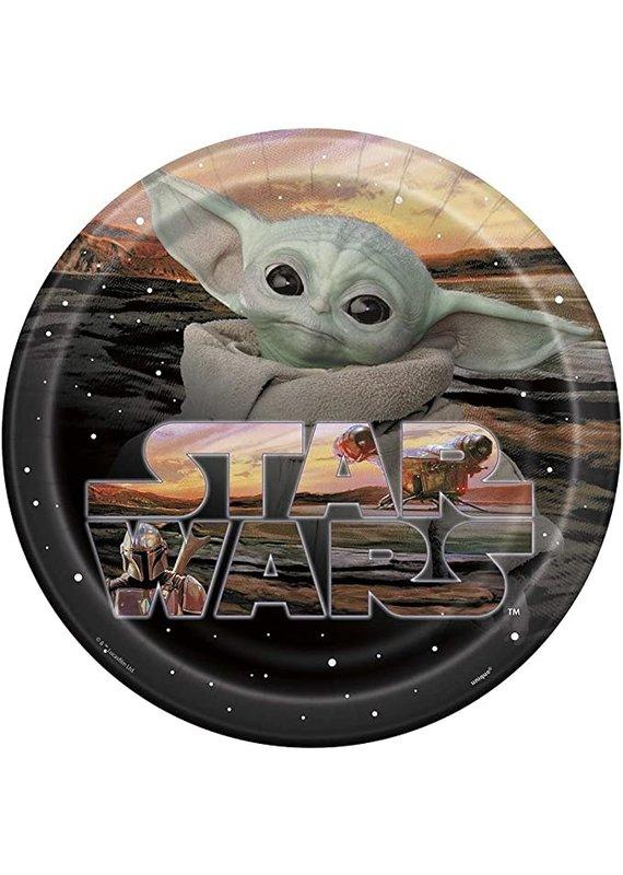 "****Star Wars Baby Yoda 9"" Dinner Plates 8ct"