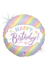 "***Pastel Holographic Happy Birthday 18"" Mylar Balloon"