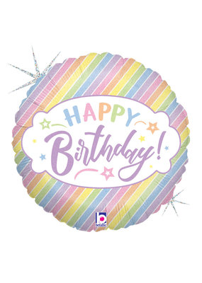 "***Pastel Holographic Happy Birthday 18"" Mylar Balloon"