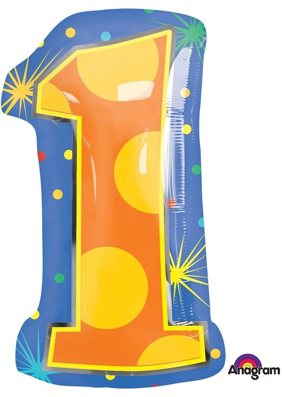 "***Number 1 Confetti Dots 20"" Mylar Balloon"