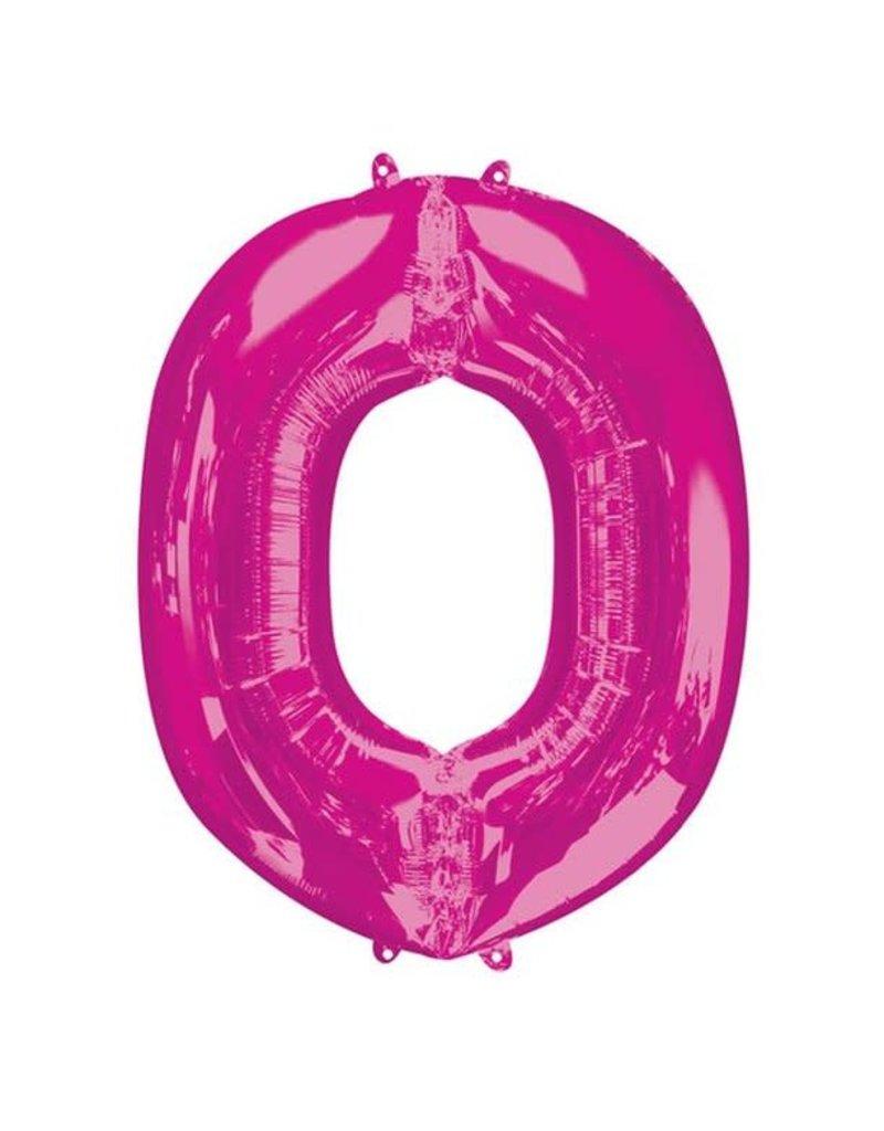"""***Hot Pink 0 Zero 33"""" Tall Mylar Balloon"""