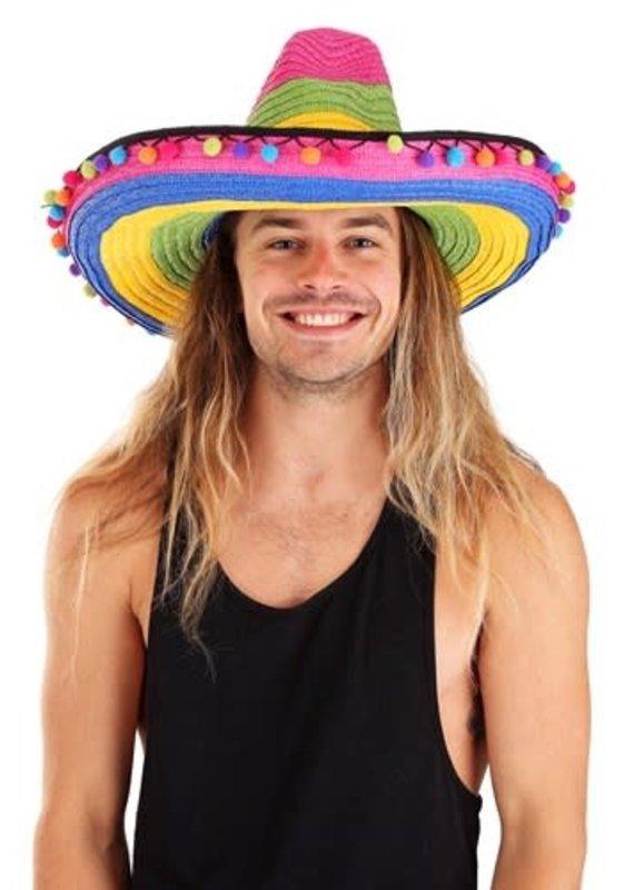 ***Deluxe Pom Pom Stripped Sombrero