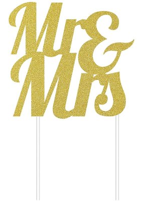 ***Mr & Mrs Gold Glitter Cake Topper