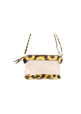 ***Simply Southern Leather Sunflower Clear Satchel