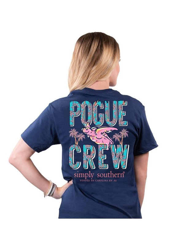 ****Simply Southern Short Sleeve Pogue Crew Navy