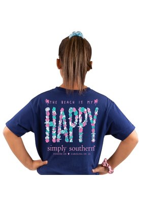 ***Simply Southern Short Sleeve Happy Navy