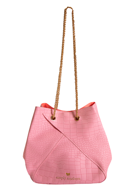 ***Simply Southern Leather Pink Bunchy Bag