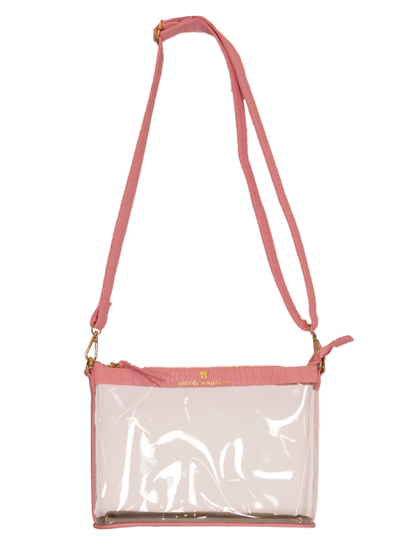 ***Simply Southern Leather Pink Clear Crossbody