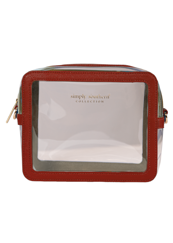 *****Simply Southern Burgundy Clear Leather Tailgate Clutch