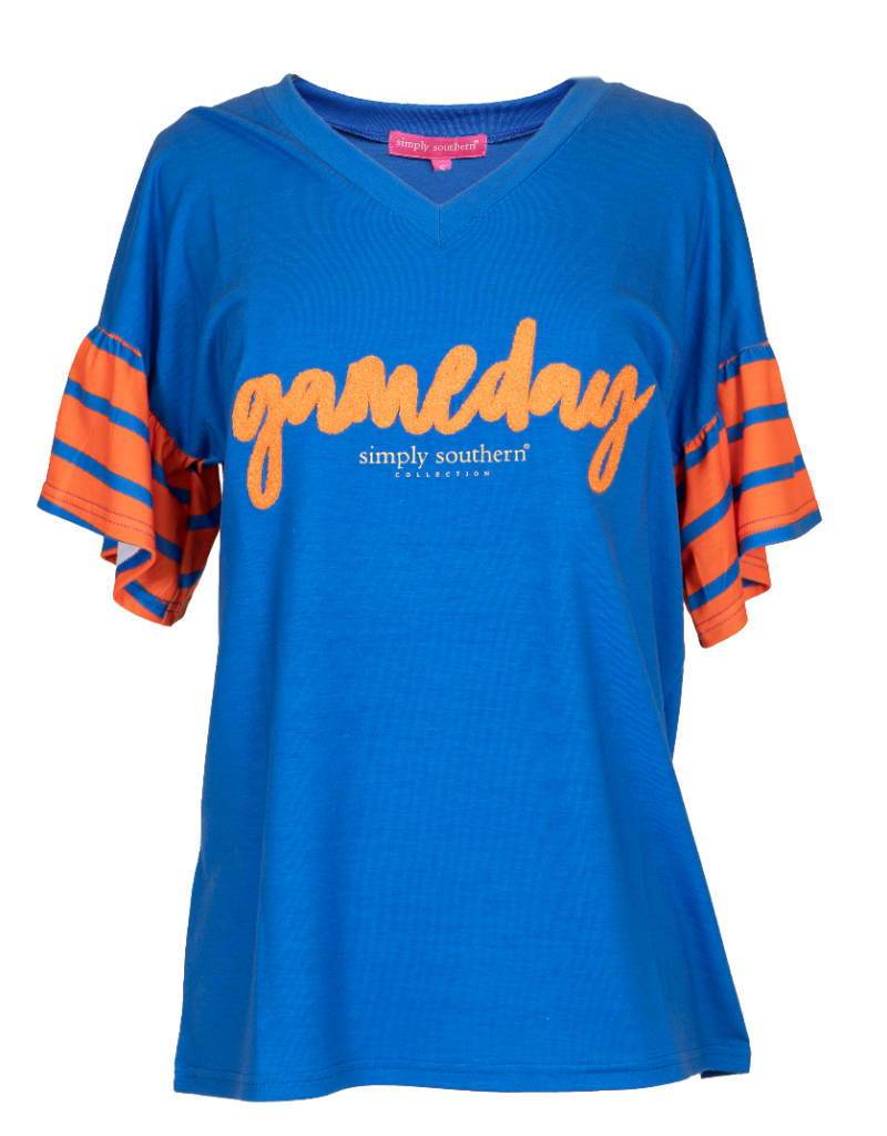 ***Simply Southern Blue and Orange Tailgate Top