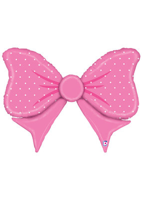 "***Pink Polka Dot Bow 43"" Mylar Balloon"