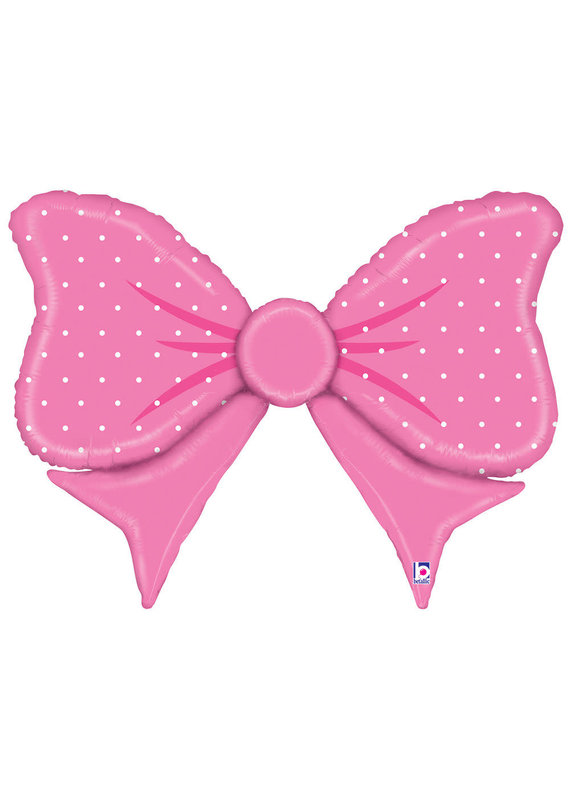 "****Pink Polka Dot Bow 43"" Mylar Balloon"