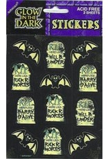 ****Glow in Dark Bat Tombstone Stickers 2 sheets