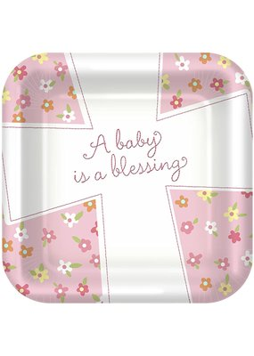 "****Blessed Baby Girl 9"" Square Dinner Plates 8ct"
