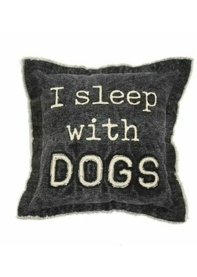 ***I Sleep with Dogs Canvas Dog Pillow