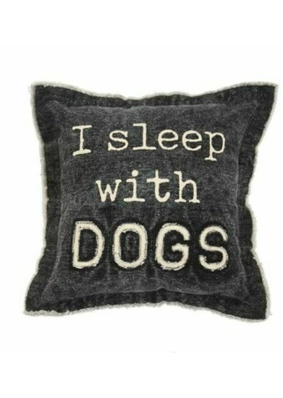 ****I Sleep with Dogs Canvas Dog Pillow