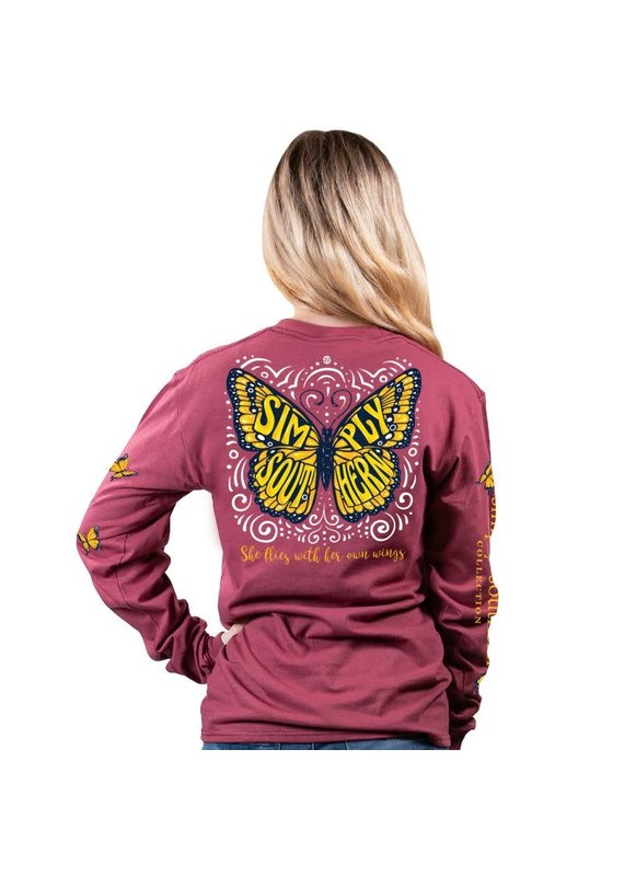 ****Simply Southern Long Sleeve Butterfly Maroon
