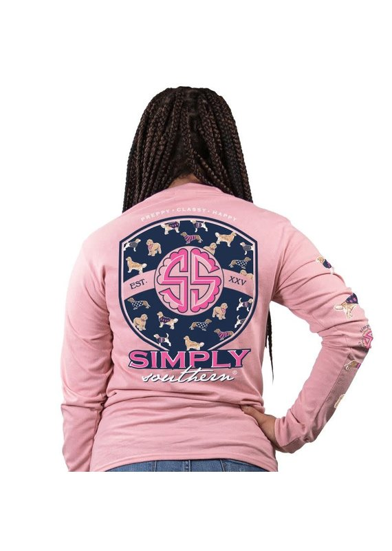 ***Simply Southern Long Sleeve Pup Logo Crepe