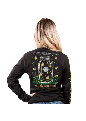 ***Simply Southern Long Sleeve Shine Out Black