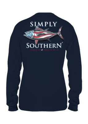 ***Simply Southern Long Sleeve Guys Tuna Midnight