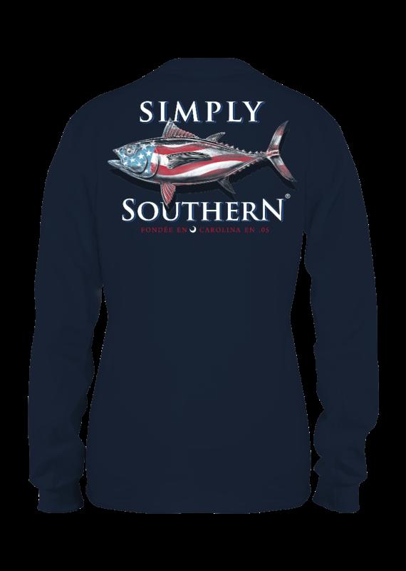 ****Simply Southern Long Sleeve Guys Tuna Midnight