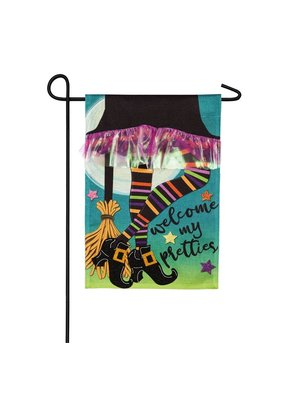 ****My Pretties Garden Burlap Flag