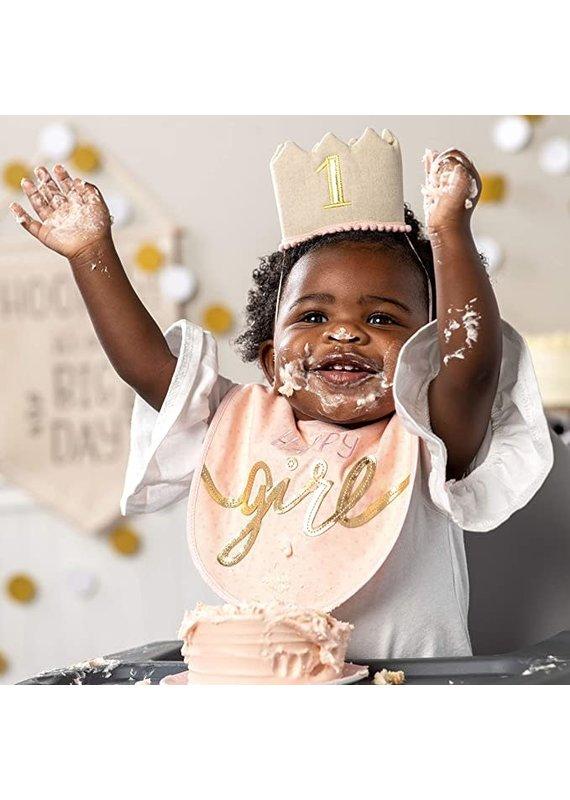 ***Happy 1st Birthday Bib & Crown Set