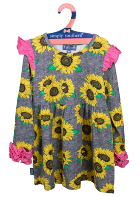 ***Simply Southern Toddler Ruffle Dress Sunflower
