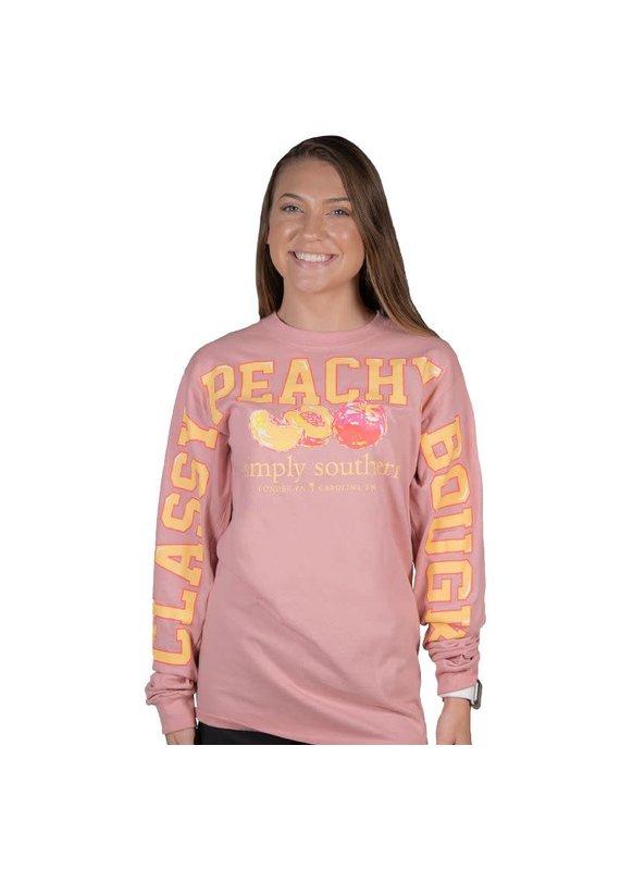 ***Simply Southern Long Sleeve Fan Jersey Peach Crepe