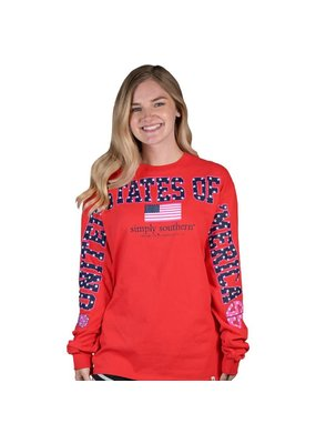 ****Simply Southern Long Sleeve Fan States Red