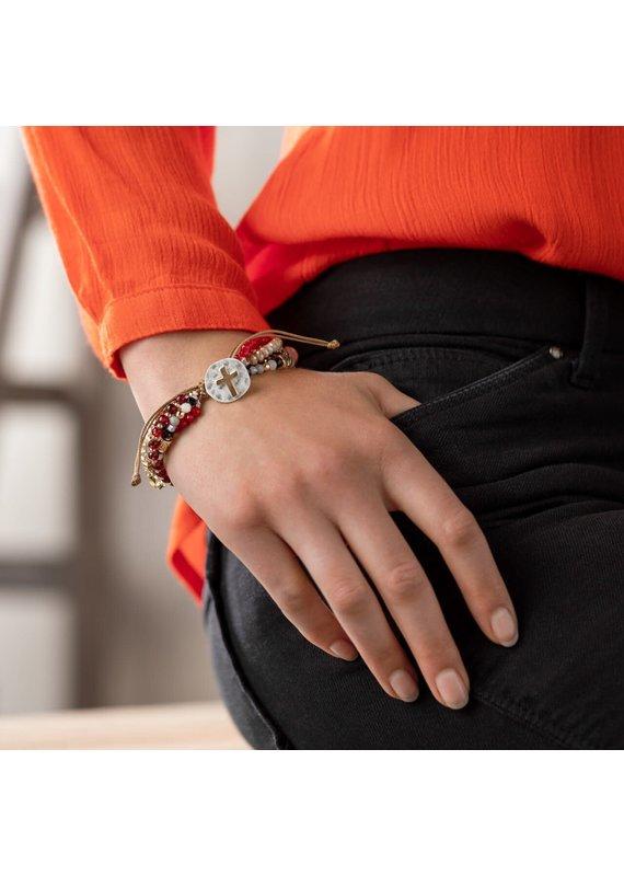 ***Your Journey Beaded Love Bracelet (Garnet)