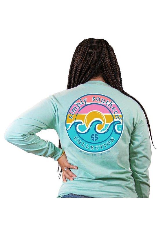 ***Simply Southern Long Sleeve Logo Wave Celedon