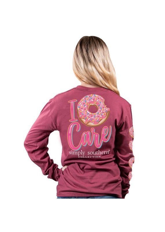 ****Simply Southern Long Sleeve Donut Care Maroon