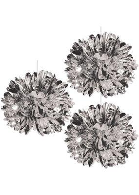 "****Metallic Silver 16"" Fluff Balls 3ct"