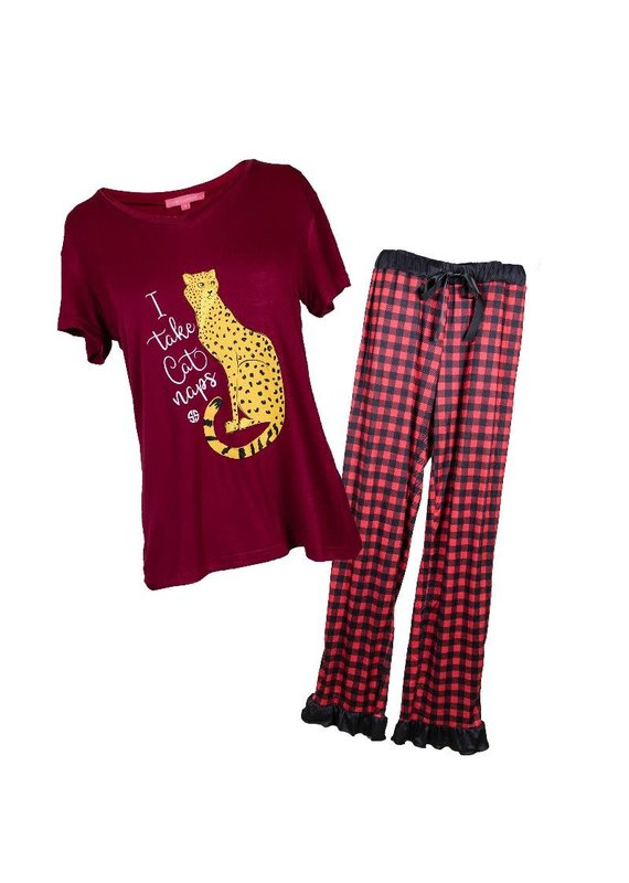 ****Simply Southern Cheetah Cat PJs