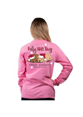 ****Simply Southern Long Sleeve Christmas Feliz Flamingo